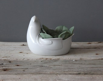 Modern White Dansk Bird Planter by Gunnar Cyren