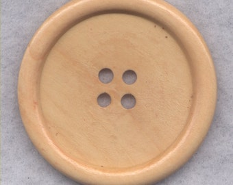 Natural Brown Wood Buttons Wooden Buttons 50mm ( 2 inch) Set of 2 /BT527A