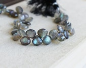 Labradorite Gemstone Briolette Grey Faceted Heart Top Drilled 9.5 to 10.5mm 12 beads