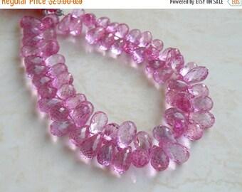 Mega SALE Mystic Pink Topaz Gemstone Briolette Faceted Teardrop 7.5mm 15 beads