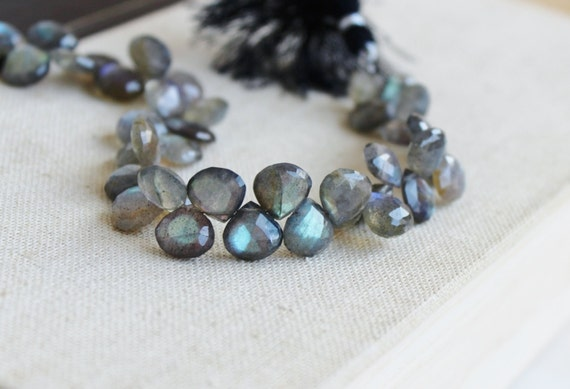 Labradorite Gemstone Briolette Grey Faceted Heart Top Drilled 8.5 to 9mm 22 beads