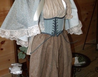 Victorian Shabby French Chic Bridal Wedding Hooded Capelet in Blue