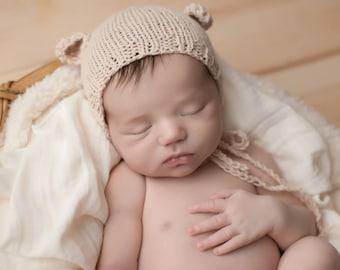 Baby bear bonnet, bear bonnet, newborn photography, photography prop, newborn prop, neutral baby bonnet, photo prop, baby animal bonnet