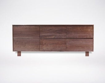 Modern Walnut dresser Solid Wood Handmade Organic Finish Contemporary mid century modern design Square Wood Legs