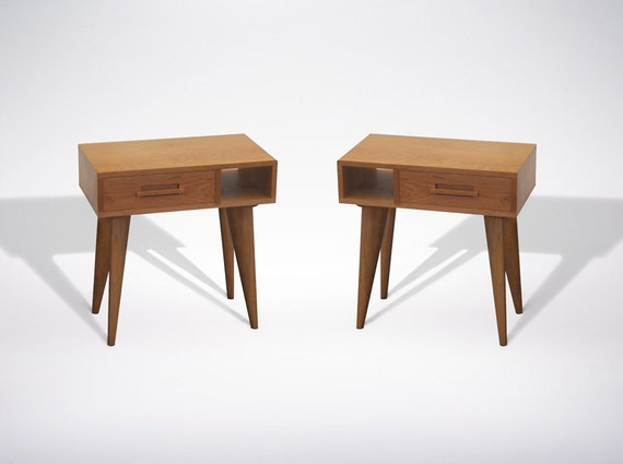 Mid Century Modern Side Table Asymmetric With Drawer