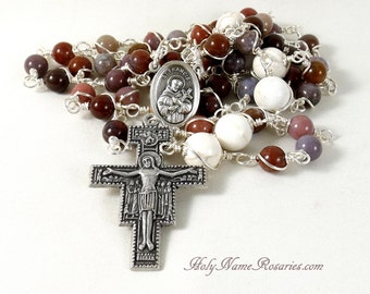 St Francis Rosary Prayer Beads San Damiano Fancy Agate Mauve Purple Rust White Wire Wrapped Unbreakable Traditional Five Decade Catholic