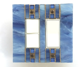 Blue Light Switch Cover, Stained Glass Wall Plate, Double Decora Switch Plate, Decorative Switchplate, Light Switch Cover, Outlet, 8259