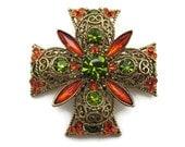 Rhinestone Brooch - Maltese Cross, Emmons, Orange and Olivine Green, Costume Jewelry