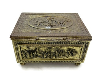 Victorian Box - Antique Trinket Jewelry Box - Party Scenes - Jennings Bros