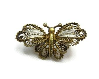 Vintage Butterfly Brooch - Silver Filigree, 800 Silver