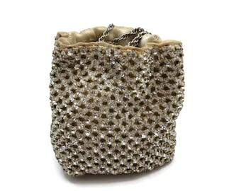 Rhinestone Purse - Drawstring Bag, Petite