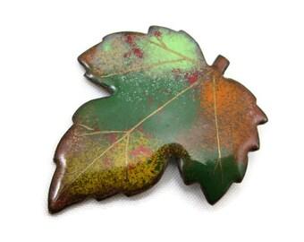 Leaf Brooch - Enamel on Copper, Fall Autumn Costume Jewelry