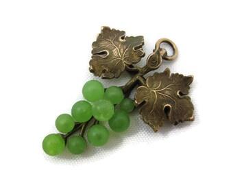 Art Nouveau Grapes Pendant - Green Glass, Gold Fill, Antique