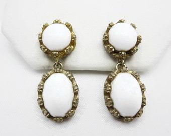 White Earrings - Milk Glass, Castlecliff, Costume Jewelry, Clips
