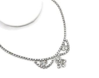 Art Deco Rhinestone Necklace - Clear Crystal Prom Wedding Jewelry