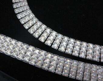 Rhinestone Jewelry Set - Necklace and Bracelet, Clear Rhinestone, Bridal, Wedding, Costume Jewelry, Demi Parure