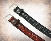Norse Rune Belt - Black or Russet - Leather Belt, Norse Leather Belt, Mens Leather Belt, Women's Leather Belt, Belt (1 Belt Only)