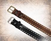 Riveted Belt - Black or Brown - Black Leather Belt, Leather Belt, Mens Leather Belt, Brown Leather Belt, Brown Belt - (1 Belt Only)