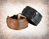 Flames Watch Cuff, Leather Watch Strap, Leather Watch Band, Brown Watch Cuff, Men's Watch Cuff - Custom to You (1 cuff only)
