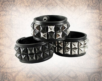 Pyramid 2-Row Snapped Cuff, Studded Leather Cuff, Leather Cuff, Leather Wristband, Leather Bracelet, Black Cuff -Custom to You (1 cuff only)