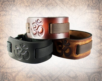 Om Leather Watch Cuff, Leather Watch Strap, Leather Watch Band, Black Watch Cuff, Men's Watch Cuff - Custom to You (1 cuff only)