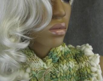 OOAK Scarflette, Collar, Knit Neck warmer, Ruffled Collar, One Size, Women, Hand Knit,Scarf,Winter Scarflette, Wool Scarflette,