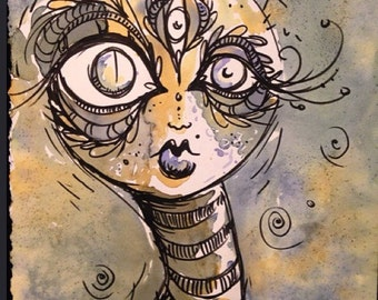 Third Eye creature lady Tea Painting