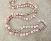Long Bead Necklace of Hand-knotted Peruvian Pink Opal Beads and Crystals Item 1565