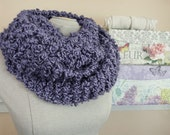 Outlander Style Cowl - Chunky Hand Knit Infinity Scarf in Grape Hyacinth Vegan Bouclé Yarn - Item 1294