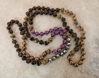 """Long Hand-knotted Necklace with Gemstones & Glass Beads """"Midnight Carnival 2' - Item 1489b"""