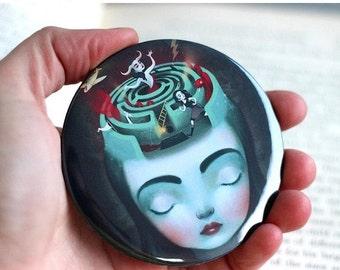 ON SALE Sometimes in my Head - Pocket Mirror - unique art mirror, inner strength, portable art, collectable, greek myth, Meluseena