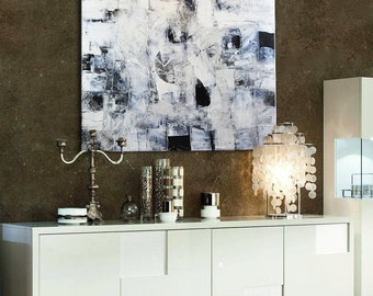 Black and white Abstract Painting, Large Black&White Painting, Original Painting, Textural painting, White painting, geometrical