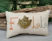 Completed Cross Stitch FALL Pillow with Handmade Maple Leaf Button