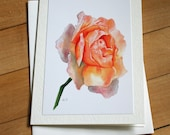 Rose Greeting Card, Watercolor Card, Blank Greeting Card, Note Card, Art Card, Any Occasion, Birthday Card, Painting, Flower, Floral, Girl