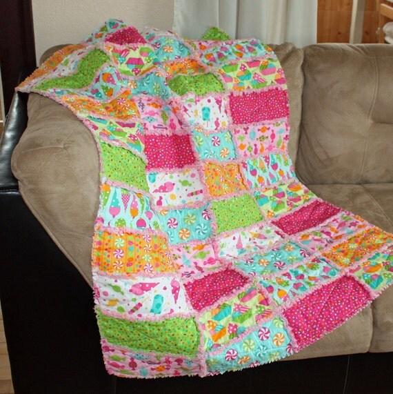 Girl Rag Quilt, Baby Blanket, Toddler, Crib Bedding, Dessert Party, Candy, Ice Cream, Confetti, Pink, Green, Bright, Fun