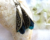 Venetian Orchid Crystal Filigree Wrap Earrings in Peacock Blue, Amber or Black - Dangle Earrings