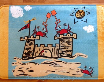 Beach crabs sandcastle bath mat bathroom rug memory foam bathroom mat for floor 3 sizes to choose from made to order crab castle beach