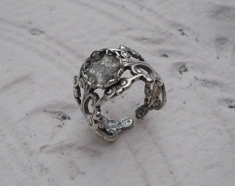 Vintage Adjustable Antique Silver Filigree Ring with 8x10mm Oval Setting (1 piece)