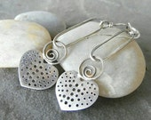 Rustic Handmade, Earrings, Artisan Jewelry, Sterling Silver Jewelry, OOAK Heart Earrings.