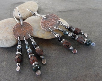 Sale-Copper Sterling Rustic Bohemian Dangle Earrings-Artisan Handmade Earrings.