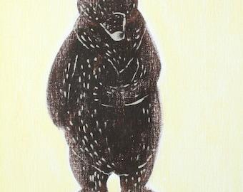 "California Grizzly Bear 8x10"", Hawk art, grizzly bear print, bear, housewares, room decor, grizzly bear, brown bear"