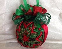 Holly and Berries Unique Handmade Keepsake Quilted Star Christmas Ornament