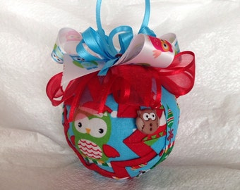 Christmas Owls Quilted Star Christmas Ornament Hostess Gift Teacher Gift Christmas Gift
