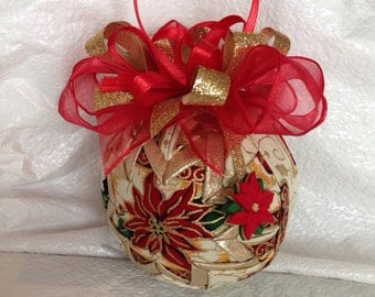Poinsettia Quilted Star Christmas Ornament