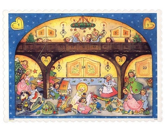 Advent Calendar Germany Colorful Sweet Angels Christmas With DIY Dresden Trims  10428