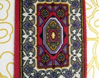 Antique mini felt rug tobacco cigar premium silk rug doll house rug 5 x 6 inches dusty rose