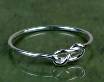 Sterling silver infinity knot ring, love knot ring, thin silver friendship ring, tied silver ring
