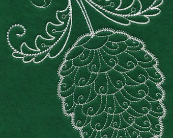 Ready to Ship Pinecone Whitework Embroidered Towel on Green Tea Towel