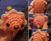 Crocheted Steven Universe Lion Amigurumi Plushie - Mini Fat Pink Lion - MADE TO ORDER