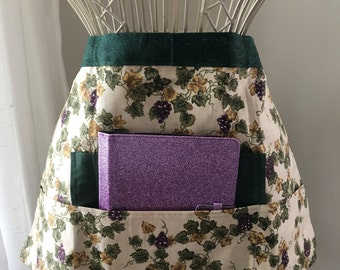 Vendor Half Waist Apron iPad Craft Teacher Art Green Purple Grapes Fruit Fabric (4 Pockets)